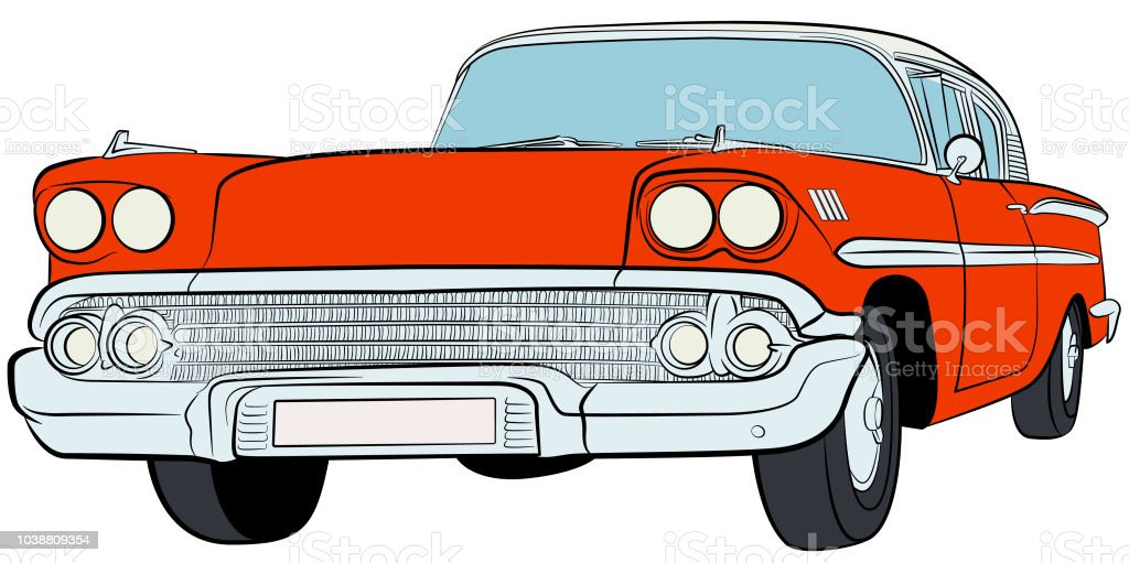 American Classic Car vector art illustration