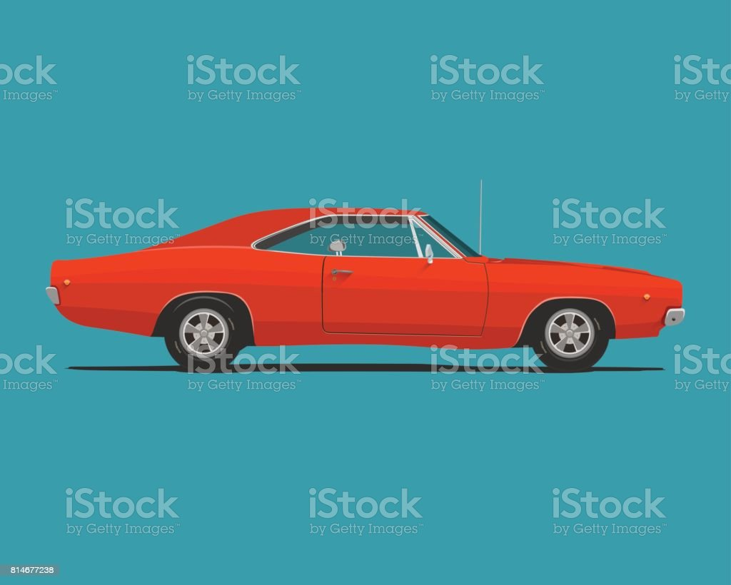 American Classic Muscle Car vector art illustration