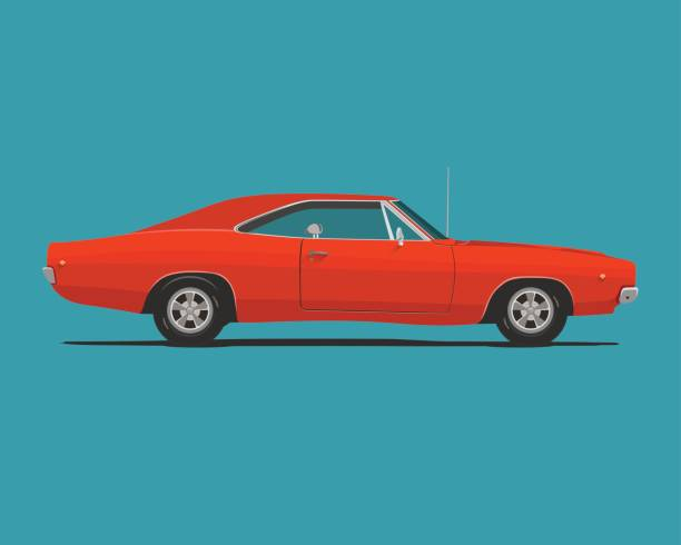 American Classic Muscle Car American Classic Red Color Muscle Car. Vector Illustration. sports car stock illustrations