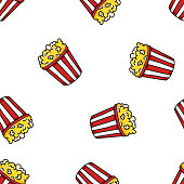 American classical popcorn bucket on white background. Seamless vector food pattern. Color design for print, packaging, paper. Doodle hand drawn illustration
