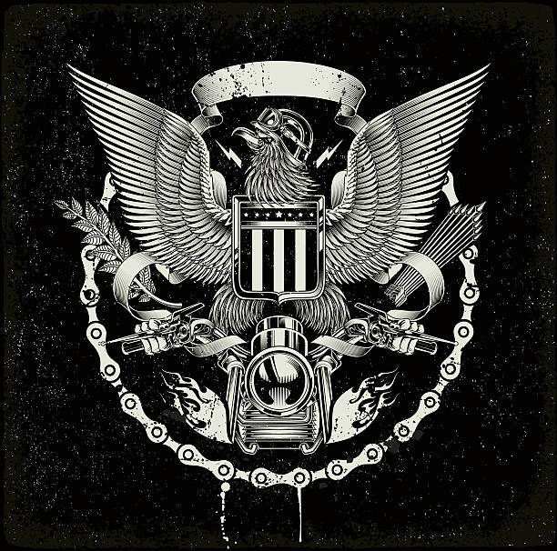american coat of arms - Biker eagle vector art illustration