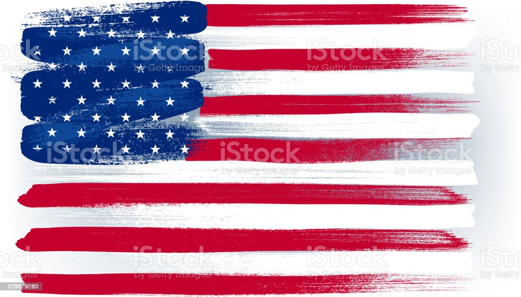 USA American colorful brush strokes painted flag vector art illustration