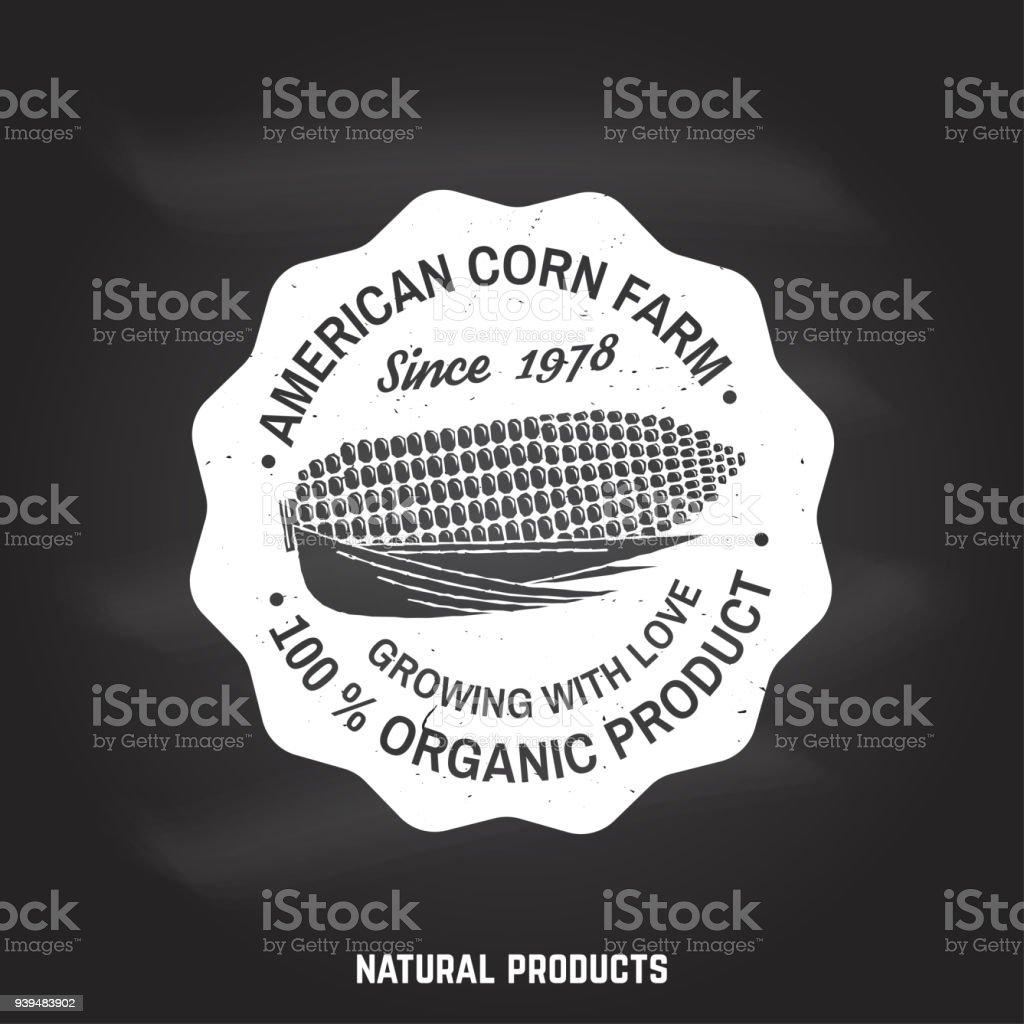 American corn Farm Badge or Label. Vector illustration vector art illustration