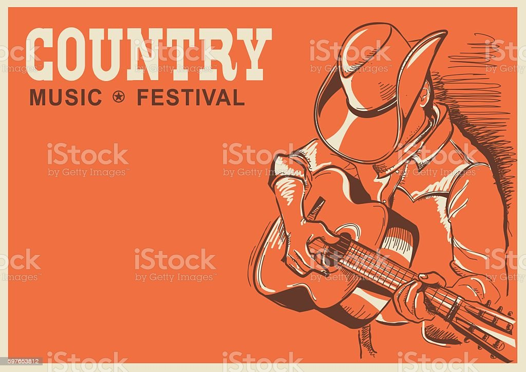 American country music festival poster with musician playing guitar vector art illustration