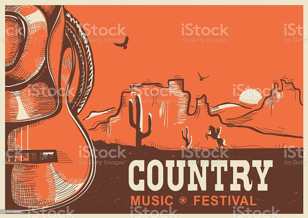 American country music poster with cowboy hat and guitar vector art illustration
