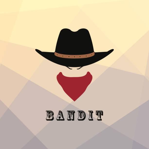 American cowboy head. American cowboy head. Bandit Texas icon. Vector illustration. bandit stock illustrations