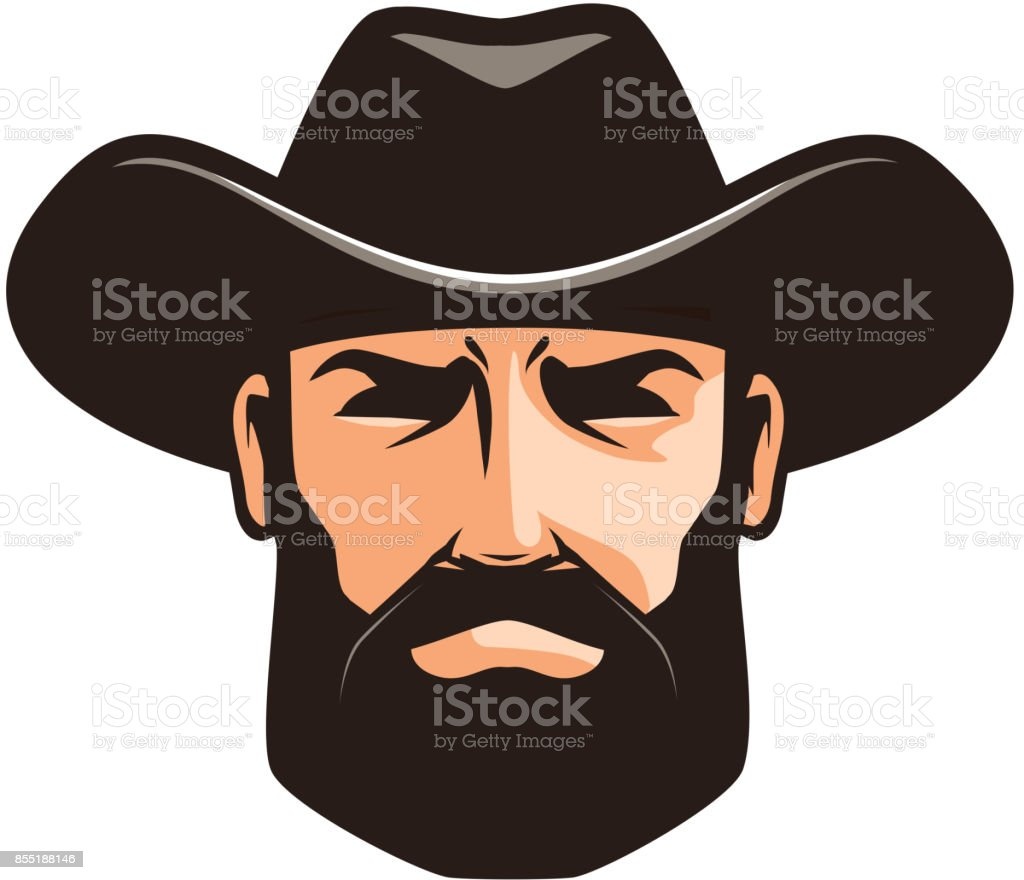American cowboy logo or label. Sheriff, wrangler, rodeo symbol. Cartoon vector illustration