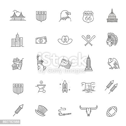 Traditions of America, US Life, National Objects of USA, Black Line Icons