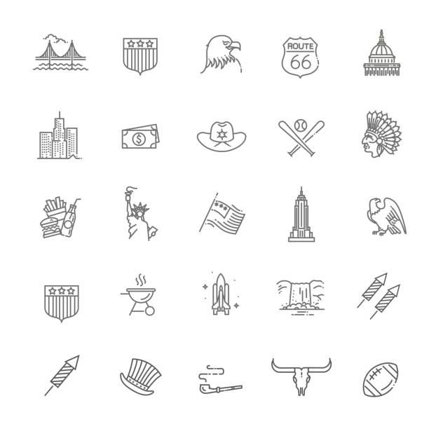 stockillustraties, clipart, cartoons en iconen met de pictogrammen van de amerikaanse cultuur, tekenen van de cultuur van de vs - monument