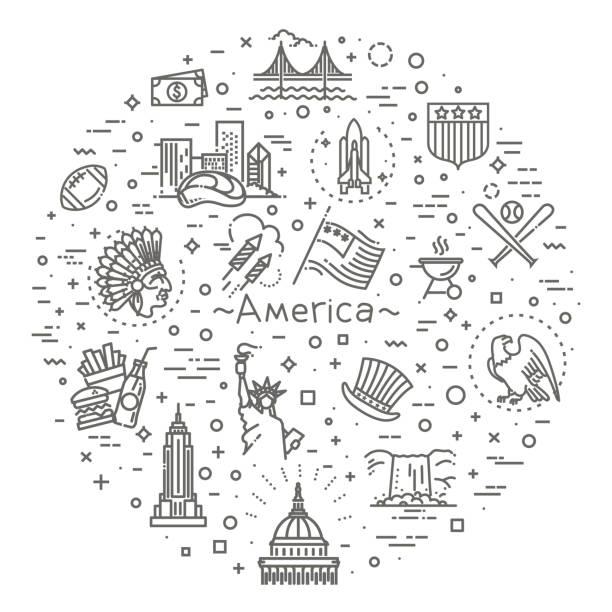 American Culture Icons, Culture Signs of the USA Traditions of America, US Life, National Objects of USA, Black Line Icons us currency stock illustrations