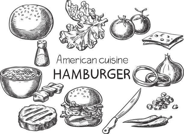 アメリカ料理。 - ハンバーグ料理点のイラスト素材/クリップアート素材/マンガ素材/アイコン素材