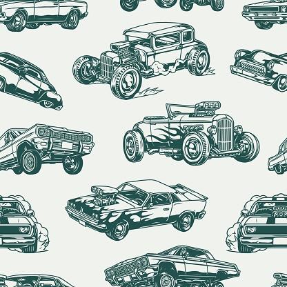 American custom cars vintage seamless pattern