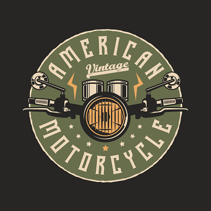 American Custom Motorcycle Vintage Badge Emblem