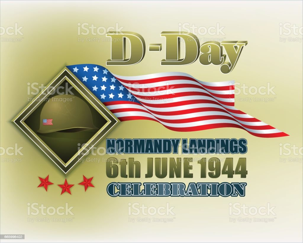 American, D-Day celebration vector art illustration