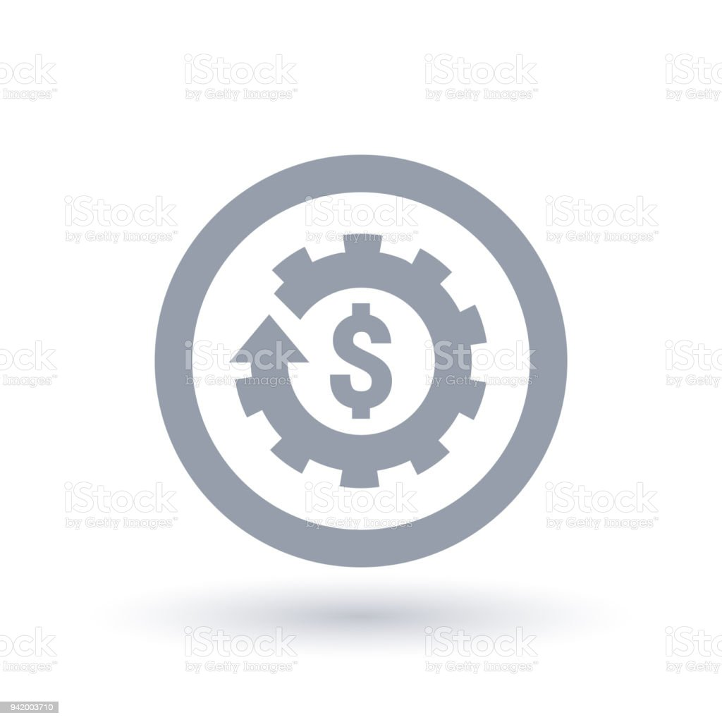 American Dollar sign and cog gear icon in circle. Economy symbol. vector art illustration
