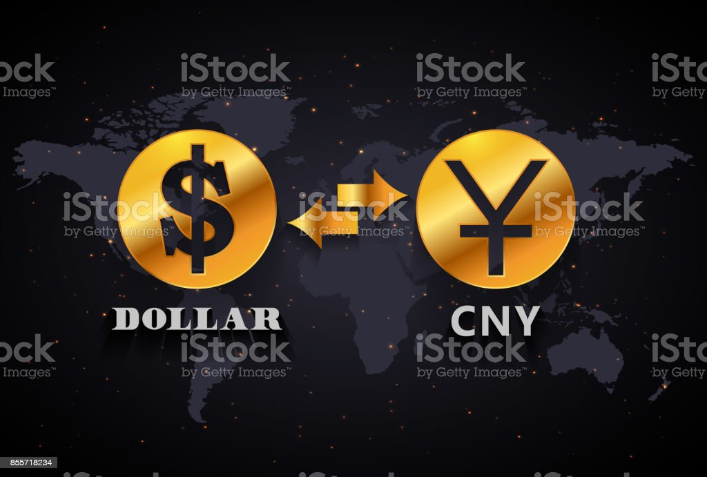 American Dollar to Chinese Yuan currency exchange infographic template on world map background vector art illustration