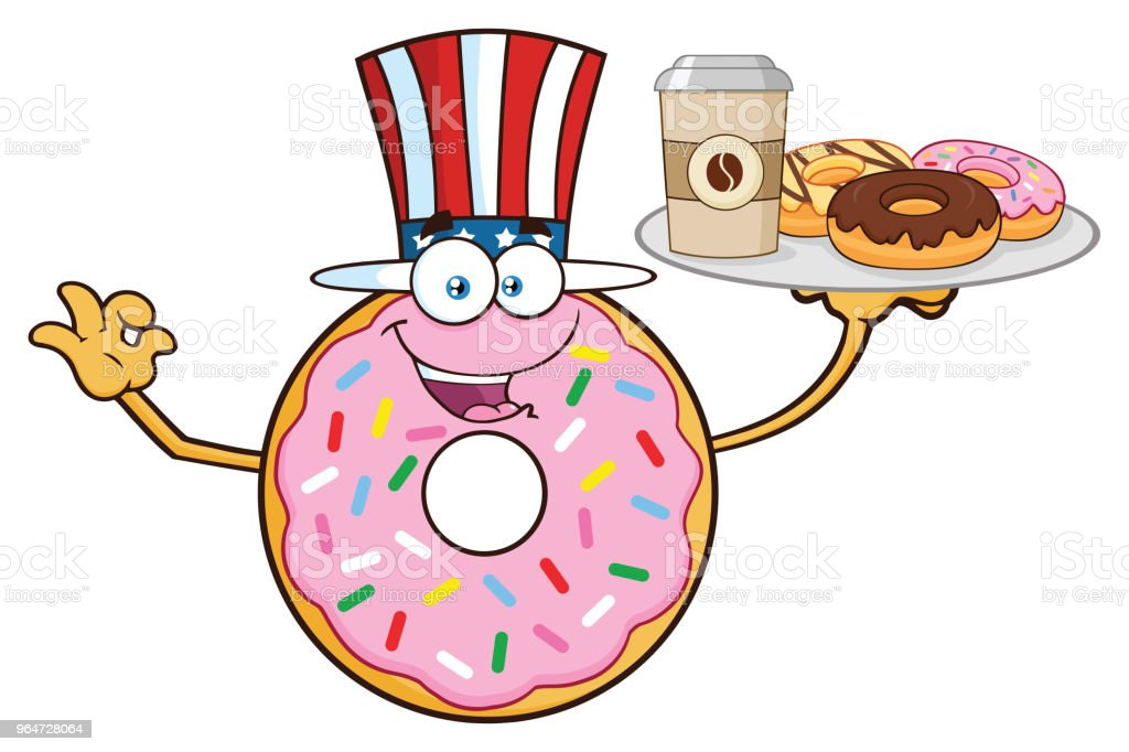 American Donut Cartoon Mascot Character Serving Donuts royalty-free american donut cartoon mascot character serving donuts stock vector art & more images of breakfast