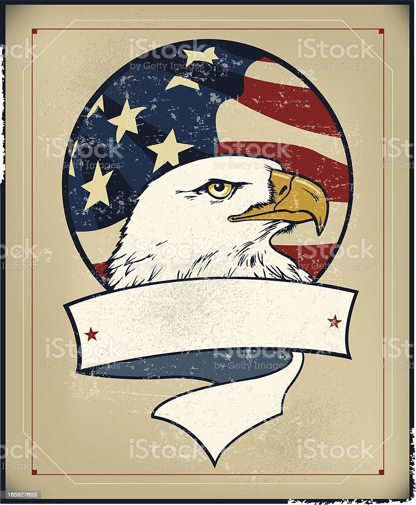 American Eagle and Flag Banner - Retro vector art illustration