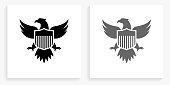 American Eagle and Shield Black and White Square Icon. This 100% royalty free vector illustration is featuring the square button with a drop shadow and the main icon is depicted in black and in grey for a roll-over effect.. This 100% royalty free vector illustration is featuring the square button with a drop shadow and the main icon is depicted in black and in grey for a roll-over effect.