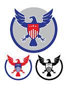Vector of American Eagle and Shield Emblem set.
