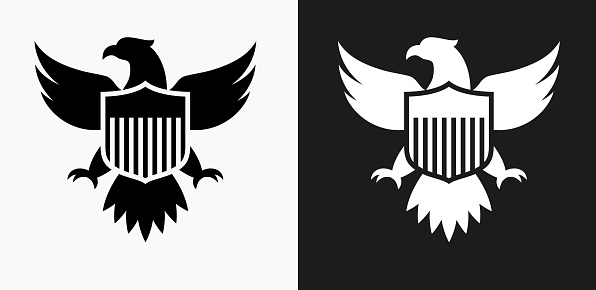 American Eagle and Shield Icon on Black and White Vector Backgrounds