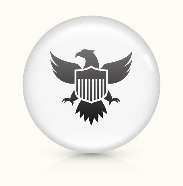 American Eagle and Shield icon on white round vector button vector art illustration