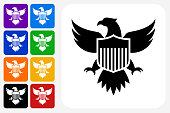 American Eagle and Shield Icon Square Button Set. The icon is in black on a white square with rounded corners. The are eight alternative button options on the left in purple, blue, navy, green, orange, yellow, black and red colors. The icon is in white against these vibrant backgrounds. The illustration is flat and will work well both online and in print.