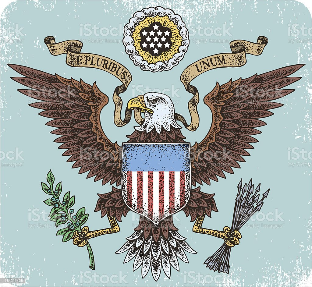 American eagle emblem illustration vector art illustration