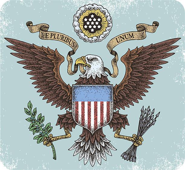 American eagle emblem illustration Hand-drawn American eagle tattoo set. president stock illustrations