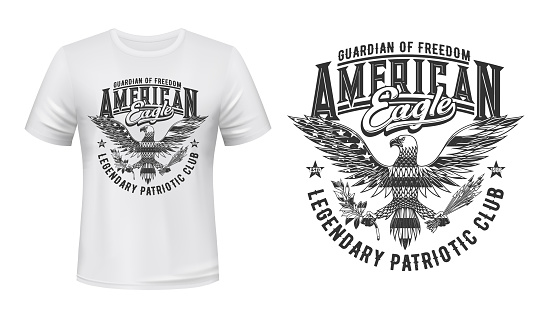 American eagle flag, t-shirt print mockup, US club