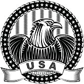 American Eagle Natioal Symbol USA Fourth July Emblem Monochrome