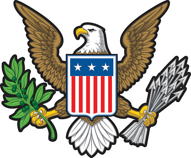 American Eagle Vector illustration of the American Bold Eagle National Symbol. The design has two layers of shadow to give the illustration more depth. EPS10 with transparencies. presidential candidate stock illustrations