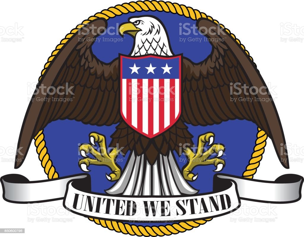 american eagle wearing flag shield and ribbon sign below