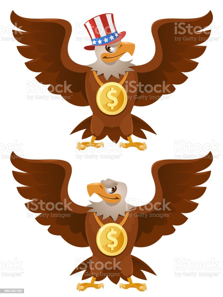 American Eagle with a dollar on the neck. vector art illustration