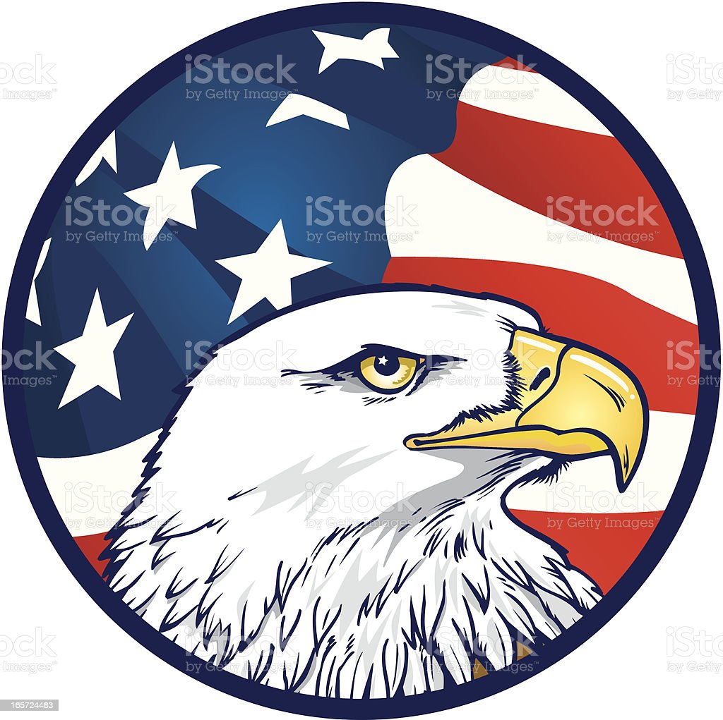 American Eagle with Flag Background vector art illustration