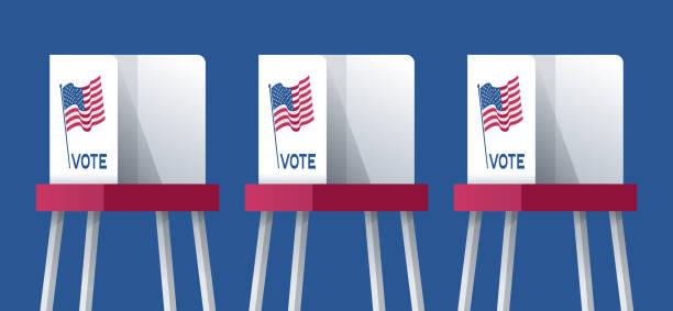 ilustraciones, imágenes clip art, dibujos animados e iconos de stock de cabinas de votación electoral estadounidenses - polling place