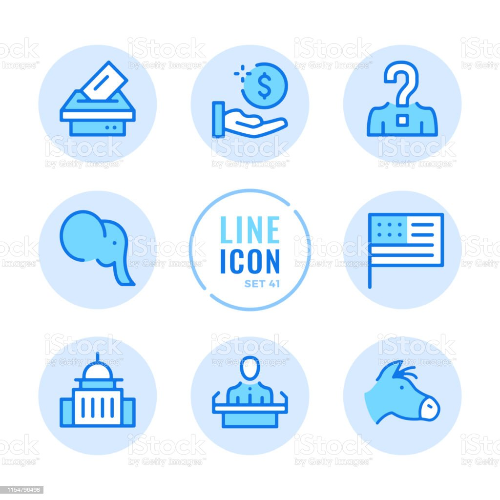American elections vector line icons set. Voting, politics, United...