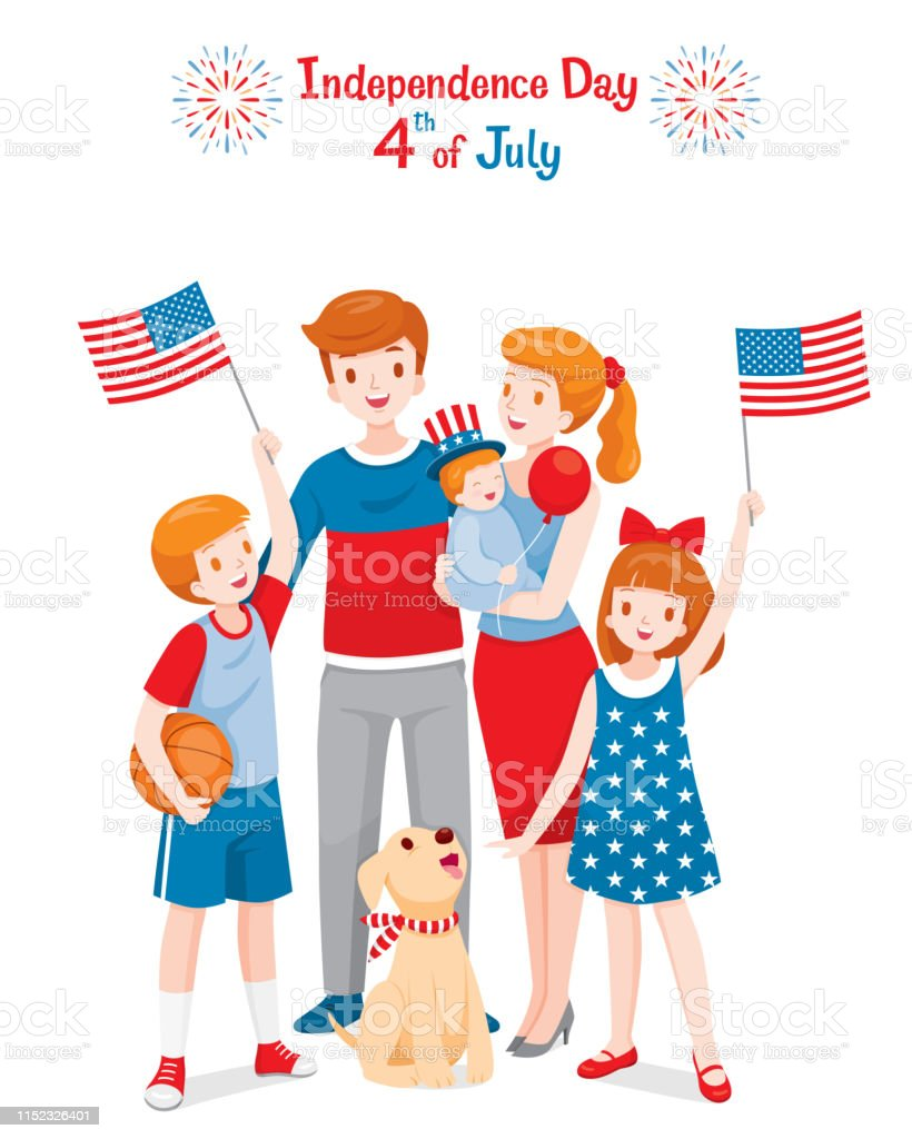 American Family Celebrating 4th Of July Independence Day, Holding Flags, Wearing Uncle Sam Hat America, Memorial Day, Nation, Country Adult stock vector