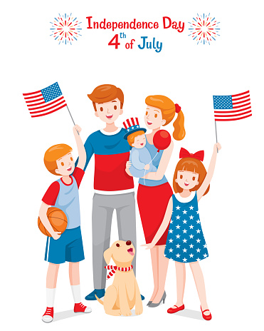 American Family Celebrating 4th Of July Independence Day Holding Flags Wearing Uncle Sam Hat Stock Illustration - Download Image Now
