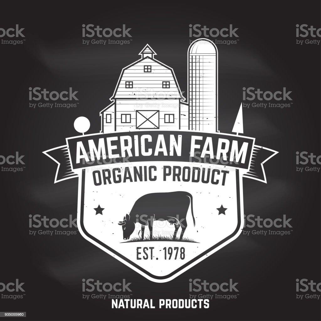 Amerikanische Farm Abzeichen oder Etikett. Vektor-illustration – Vektorgrafik