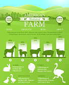 American Farm Infographic with bright landscape, farm animals silhouettes. Vector template for landing design, web pages