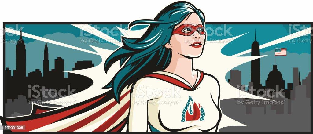 American Female Super Hero vector art illustration