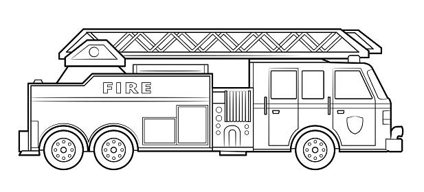 American fire engine illustration  - simple line art contour of vehicle.