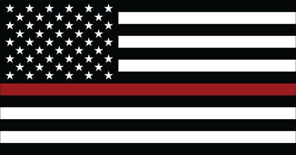 flagge der amerikanischen feuerwehrmann - feuerwehrmann stock-grafiken, -clipart, -cartoons und -symbole