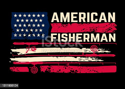 American fisherman. American flag with fishing rods. Design element for poster, card, banner, t shirt. Vector illustration
