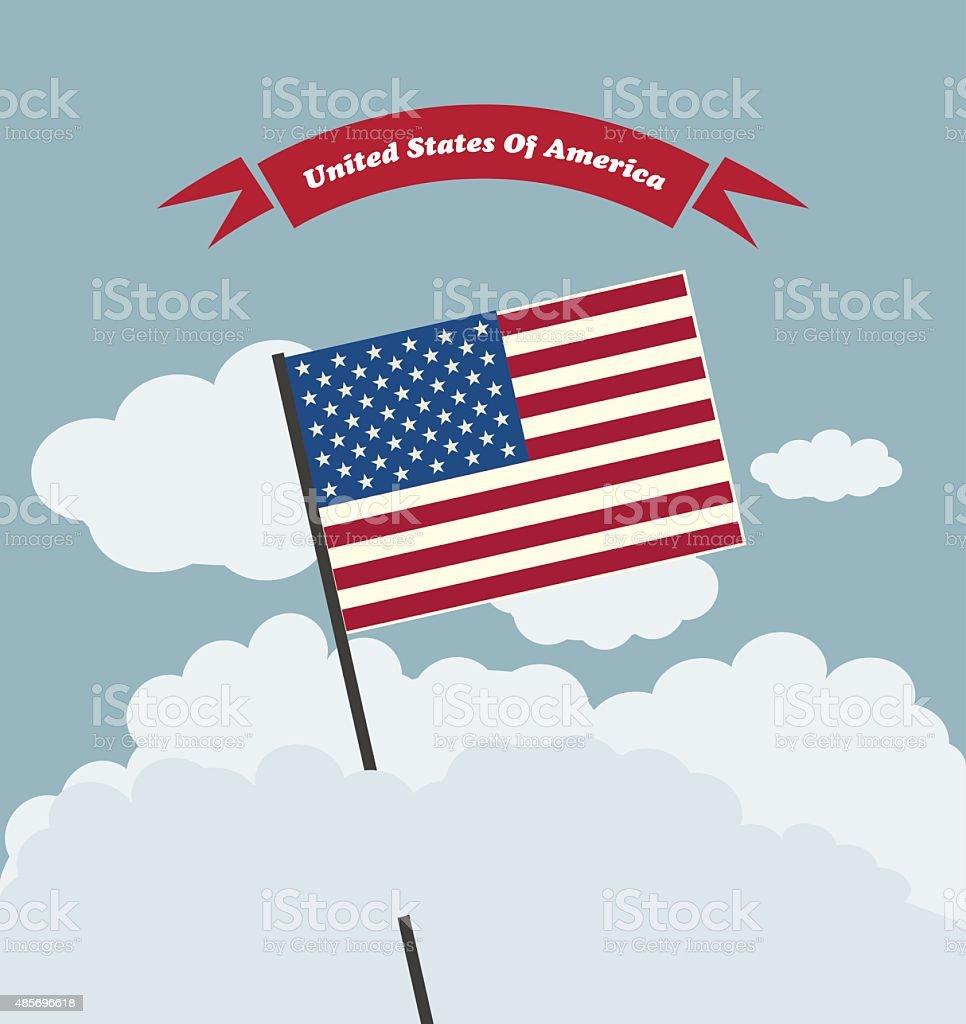 American Flag Against Blue Sky vector art illustration