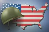 American Flag and Military Helmet