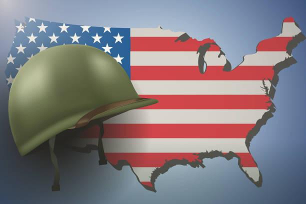 american flag and military helmet - world war ii stock illustrations, clip art, cartoons, & icons