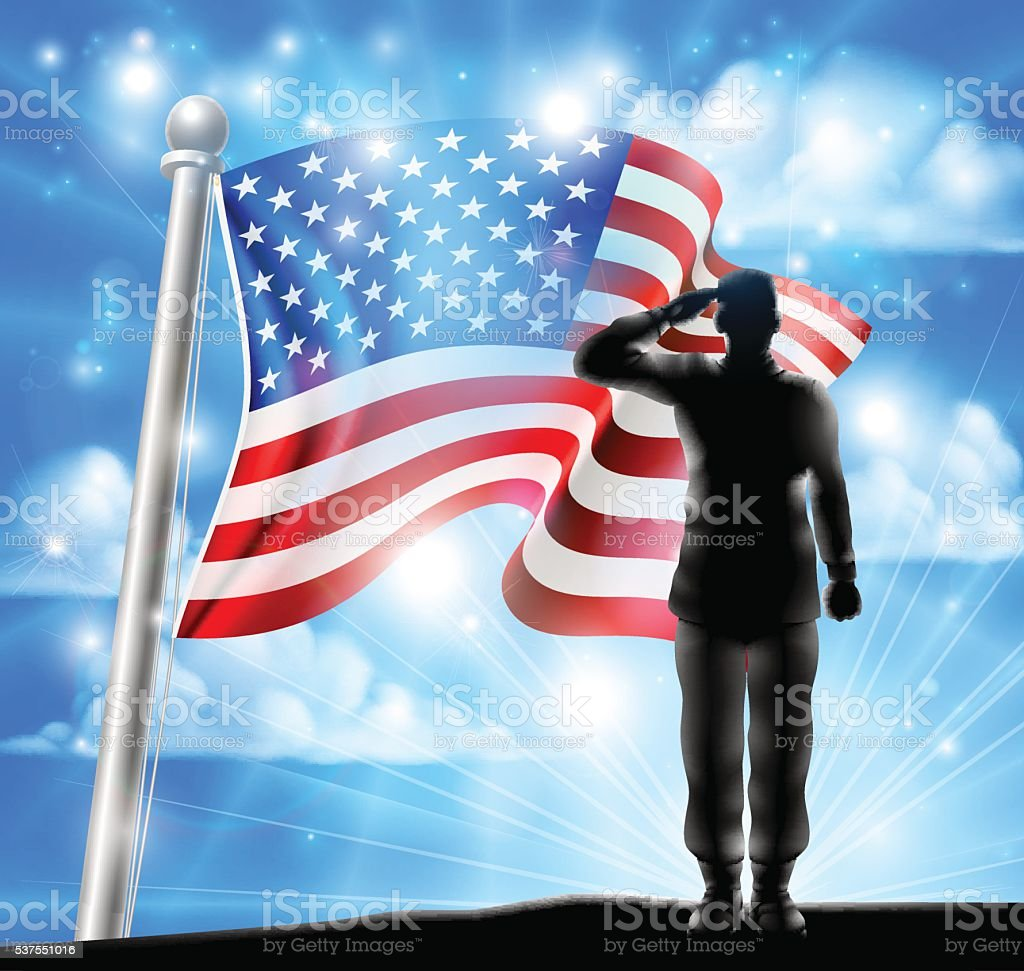 American Flag and Silhouette Soldier Saluting vector art illustration
