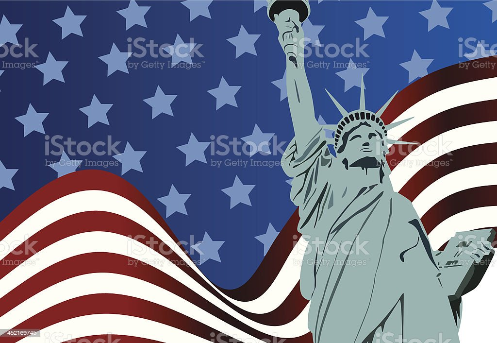 American flag and Statue of Liberty vector art illustration